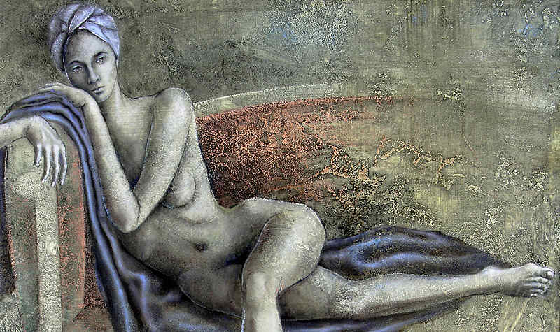 akt auf divan, nude on couch